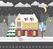 Flat style winter house. Cottage. Vector illustration. Snowfall background. Flat design winter card. Stock Images