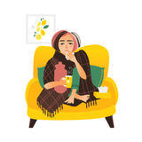 Flat style woman having flu, wrapped in blanket Royalty Free Stock Photography