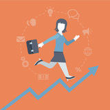Flat style woman running up the rising income graphic concept Stock Photos