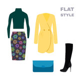 Flat Style. Womans Look. Fashion wear. Vector Stock Photography
