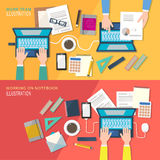 Flat style of working place Stock Image
