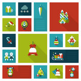 Flat style Xmas, New Year holiday decorations template icon set Stock Images