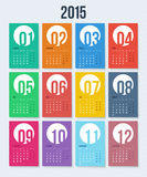 Flat style 2015 year calendar. Stock Images