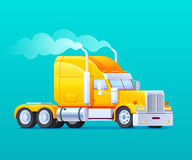 Flat style yellow truck. Rides on a turquoise background with smoke from exhaust pipes vector illustration royalty free illustration