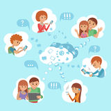 Flat style young people faces online social media communication cloud service concept vector. Man woman with tablet phone laptop. Content and humans connected Stock Photography