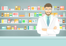 Free Flat Style Young Pharmacist At Pharmacy Opposite Shelves Of Medicines Stock Images - 58228264