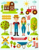 Flat stylish icons for gardening concept. Garden set icons-gardening tools, garden icons set, flat design vector Stock Images