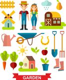 Flat stylish icons for gardening concept. Garden set icons-gardening tools, garden icons set, flat design vector Stock Photography