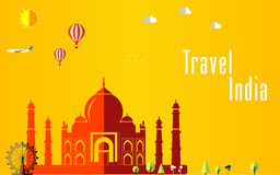 Flat stylish travel background, vector illustration for India, India, Travel and tourism concept Royalty Free Stock Photo