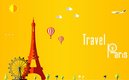Flat stylish travel background, vector illustration for Paris, France, Travel and tourism concept Royalty Free Stock Photography