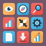 Flat Stylized Business App Icons Set Royalty Free Stock Image