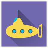 Flat submarine icon Royalty Free Stock Photo