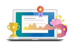 Flat success and profit report themed illustration. Isolated on white background stock illustration