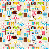 Flat Summer Beach Vacation Holiday Seamless Pattern Stock Photography