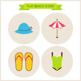 Flat Summer Beach Website Icons Set Royalty Free Stock Images