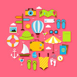 Flat Summer Holiday Objects Set Royalty Free Stock Image