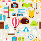 Flat Summer Holiday Seamless Pattern Royalty Free Stock Image
