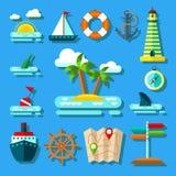 Flat Summer Icon Set Stock Photo