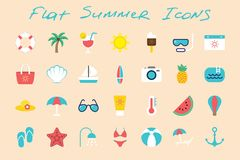 Flat summer icons set on color background. Flat summer vacation icons set on color background Stock Photos