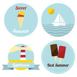 Flat summer illustrated labels Stock Image