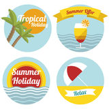 Flat summer illustrated labels Stock Photo