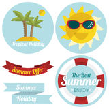 Flat summer illustrated labels and ribbons Stock Images