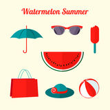 Flat summer objects Stock Photography