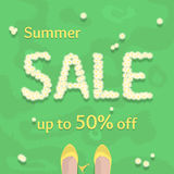 Flat summer sale vector banner, poster, flyer Royalty Free Stock Images
