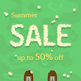 Flat summer sale vector banner, poster, flyer template Royalty Free Stock Images