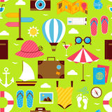 Flat Summer Time Travel Seamless Pattern Stock Photography