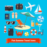 Flat summer travel icons. Vacation and tourism Royalty Free Stock Images