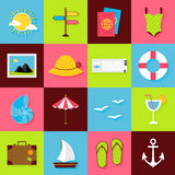 Flat Summer Travel Objects Set Royalty Free Stock Photos