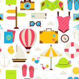 Flat Summer Travel Seamless Pattern Stock Images