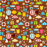 Flat Summer Travel Voyage Seamless Pattern Royalty Free Stock Images