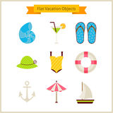 Flat Summer Vacation Objects Set Royalty Free Stock Photos
