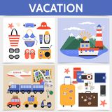 Flat Summer Vacation Square Concept Royalty Free Stock Image