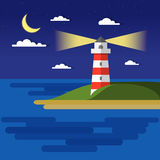Flat summer vector night landscape. Travel and sailing concept template with moon, sea, lighthouse. Outdoor Tourism Stock Photo