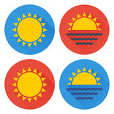 Flat sun icon set Royalty Free Stock Photography