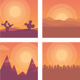 Flat sunset. Desert, mountains and sea Royalty Free Stock Photography