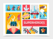 Flat Super Heroes Infographic Template royalty free illustration