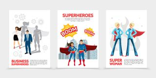 Flat Superhero Characters Posters. With super heroes in costumes and capes speech bubbles Boom inscriptions cityscape heroic business people isolated vector vector illustration
