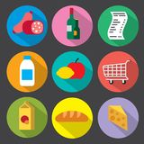 Flat supermarket icons. Set of flat supermarket icon set of foods and meal stock illustration