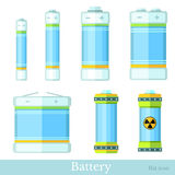 Flat syle set of color battery and accumulator Royalty Free Stock Image