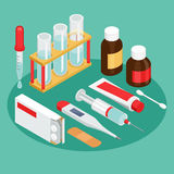 Flat symbols for ad about pharmacy, medical items Stock Image
