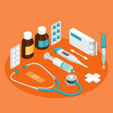 Flat symbols for ad about pharmacy, medical items Stock Photo