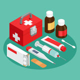 Flat symbols for ad about pharmacy, medical items. A set of vector isometric projection illustrations for advertising and announcements about pharmacy and Royalty Free Stock Photo
