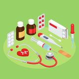 Flat symbols for ad about pharmacy, medical items Royalty Free Stock Photography