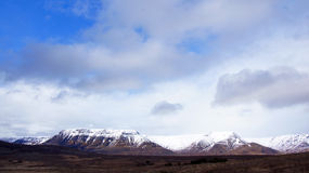 Flat table mountains with great sky on Iceland Royalty Free Stock Photo