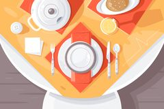 Flat table setting with plate, food, cutlery, teapot and tablecloth. Concept cafe or home prepare for dinner, service culture. Vector illustration stock illustration