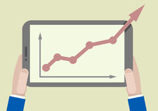 FLAT_tablet_growthchart_02 Royalty Free Stock Image